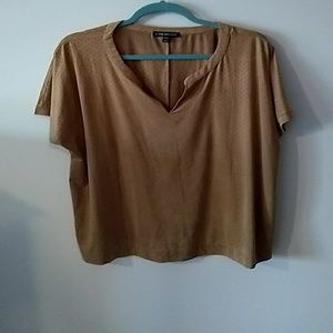 Lane Bryant faux suede perforated tee